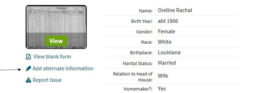 Correcting Ancestry.com Records, record summary Oreline