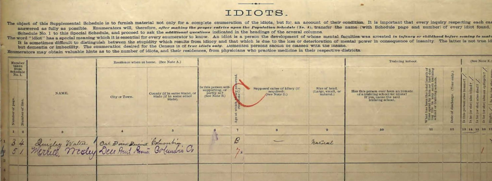 Idiot Schedule 1880 Census