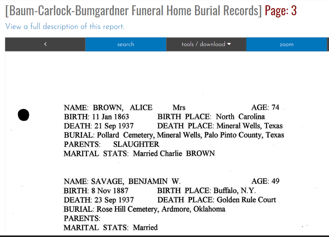 Sample Funeral Home Record with Date of Birth