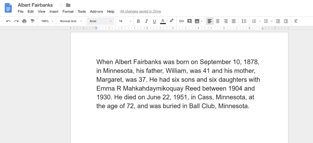Ancestor Narrative Information in Google Docs