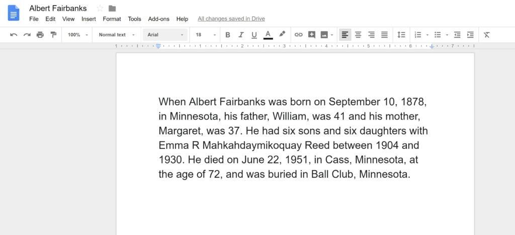 Ancestor Narrative Information in Google Docs