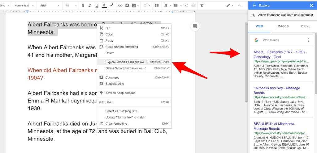 Explore Feature in Google Docs