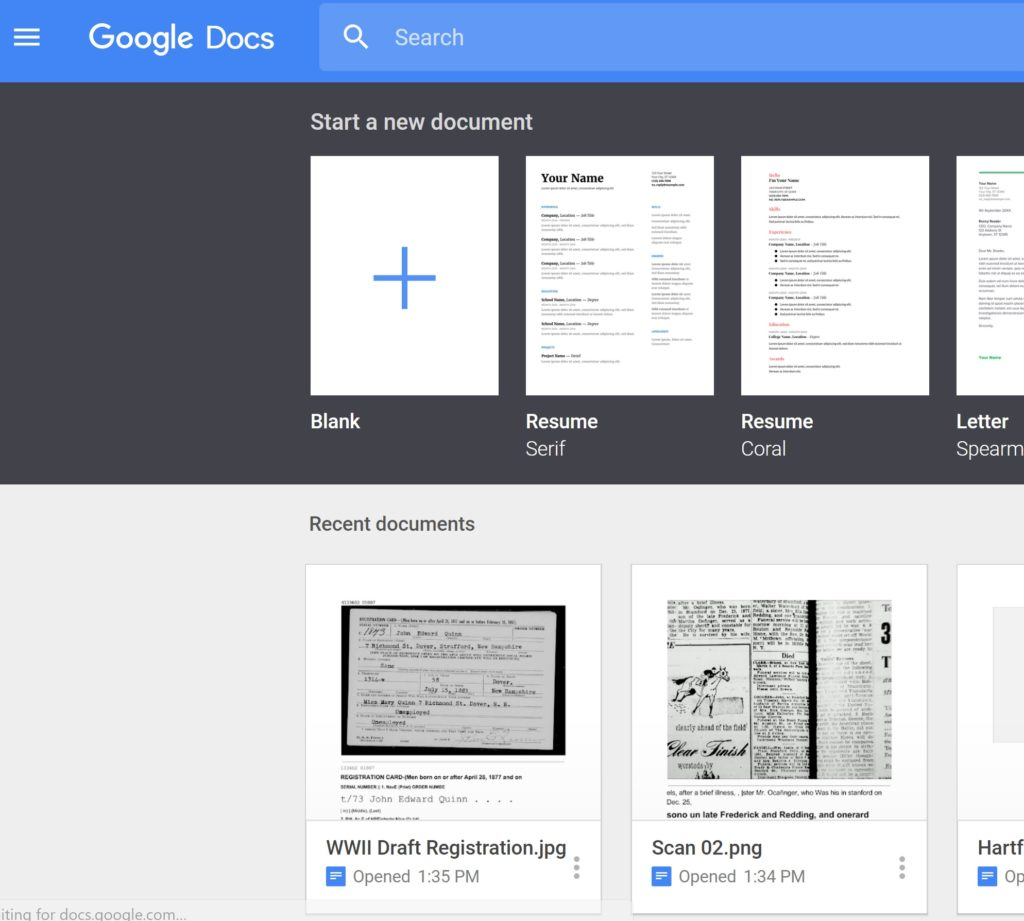 Google Docs New Document