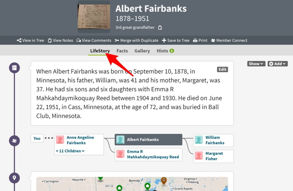 Lifestory Feature on Ancestry