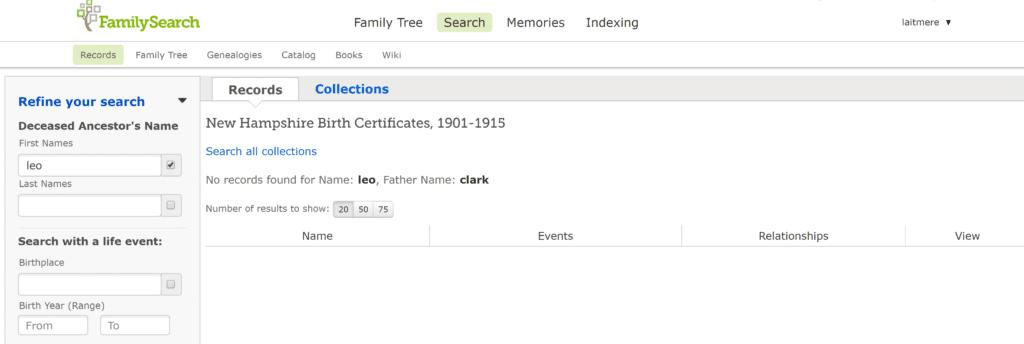 No records for leo clark