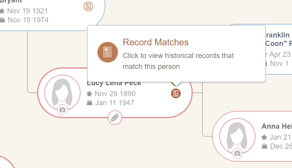 MyHeritage Pedigree View Hints Discoveries