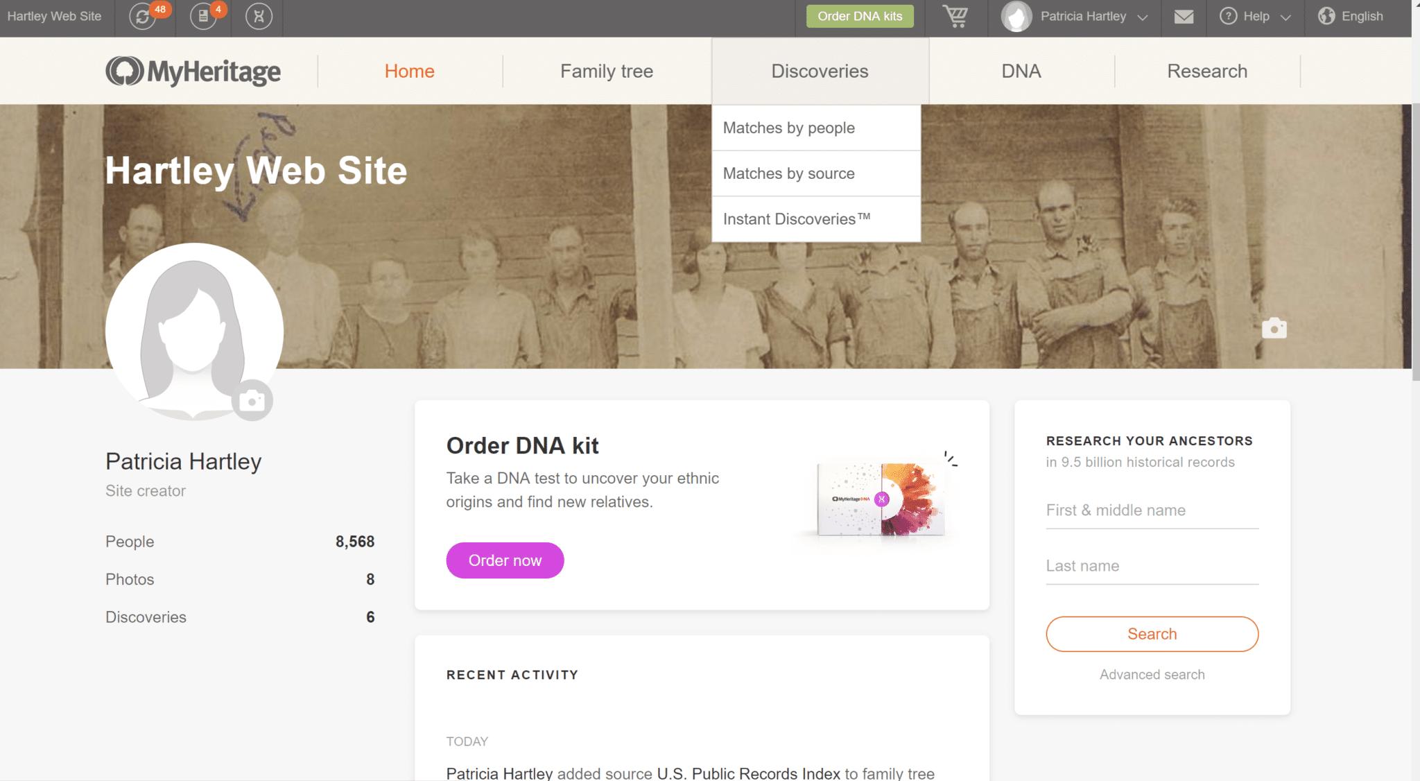 MyHeritage Discoveries Menu