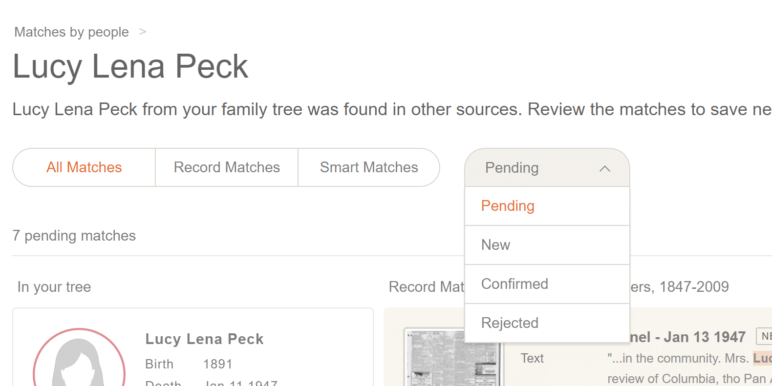 MyHeritage Discovery Sort Options