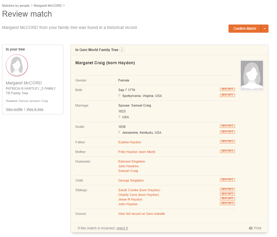 MyHeritage Discoveries Review Match