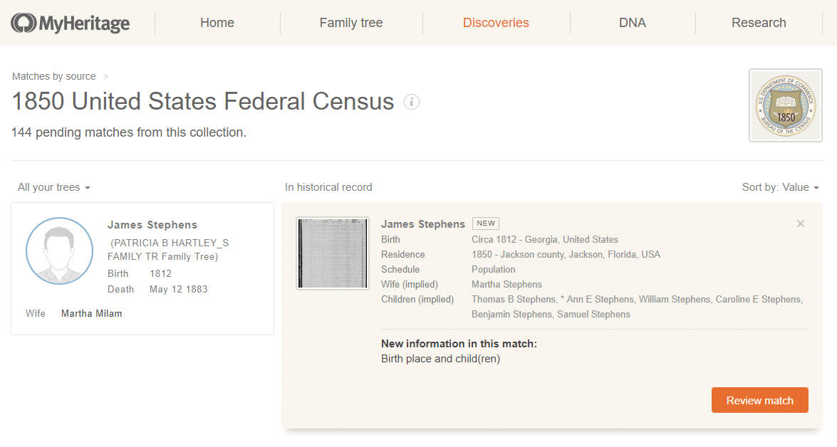 1850 Census Close Up MyHeritage Discoveries