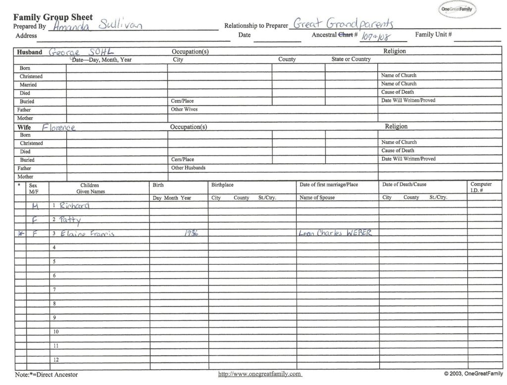 Genealogy organization, family group sheet, Sohl