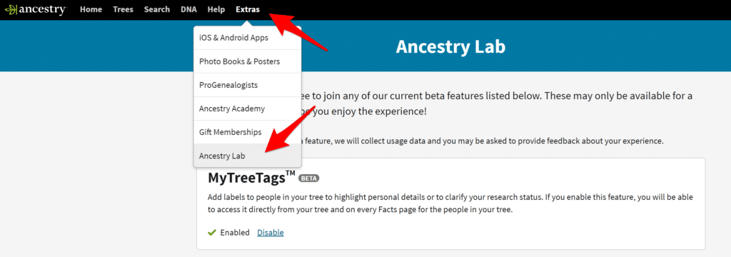 Ancestry Lab in Menu