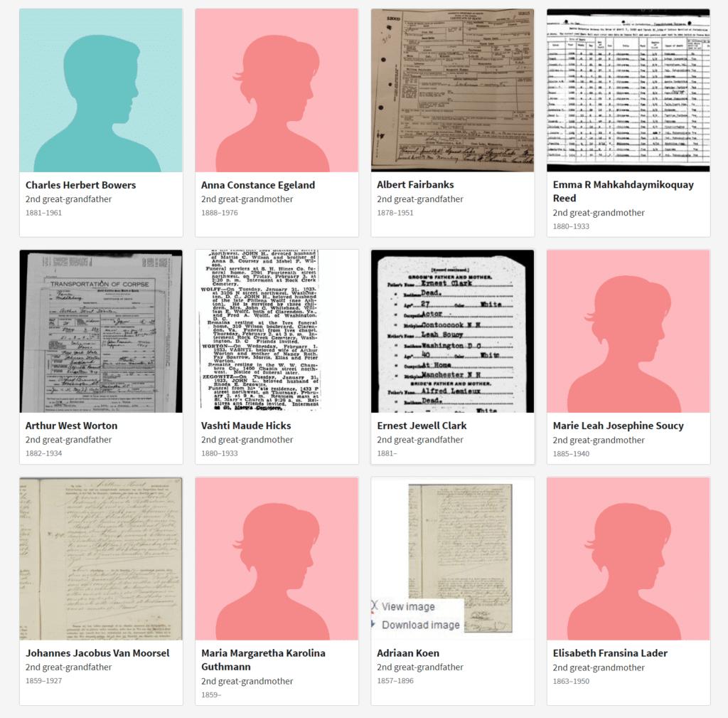 Ancestry ThruLines Ancestor Landing Page