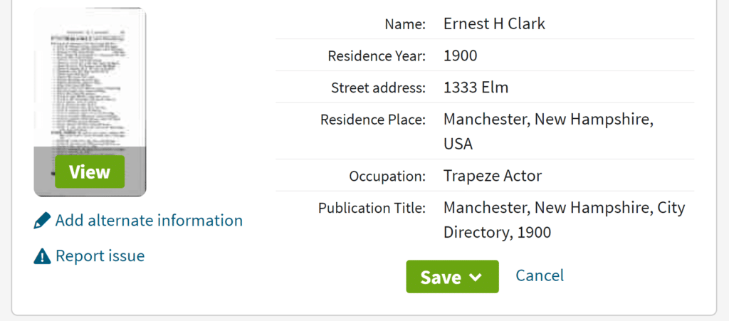 City Directory Record on Ancestry