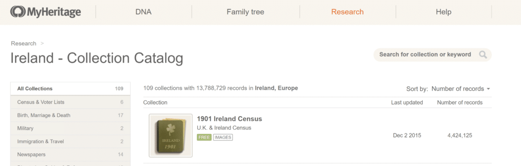 MyHeritage Free Irish Records
