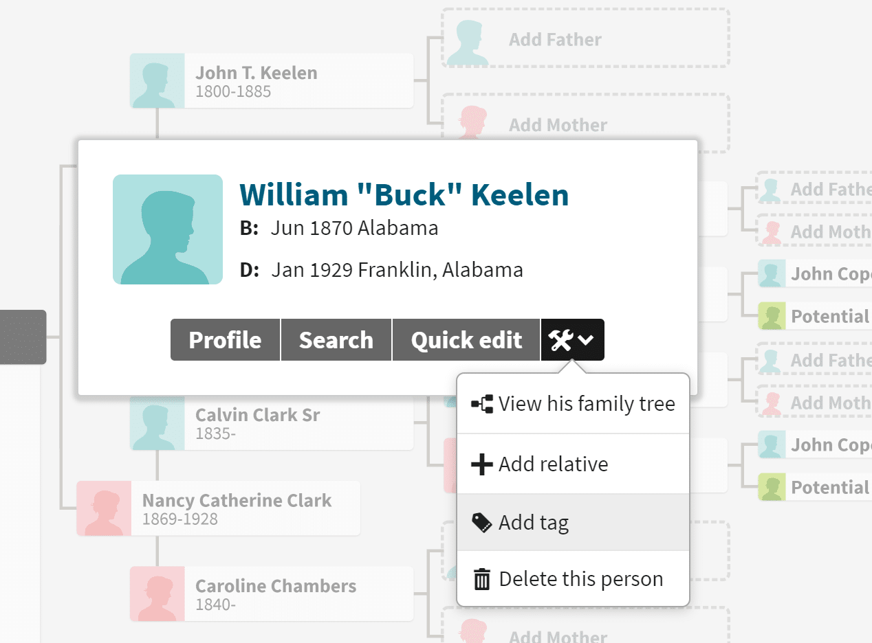 "Screenshot of ""Add tags"" dropdown for Ancestry MyTreeTags"