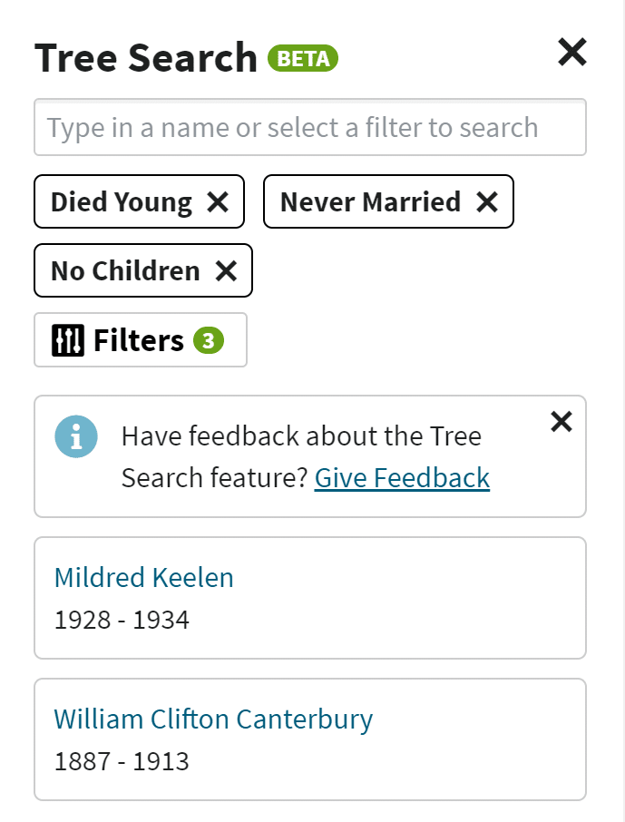 Screenshot of Tree Search results with Filters