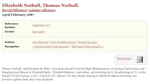 Genealogy criminal records, Thomas Nuthall Old Bailey Site