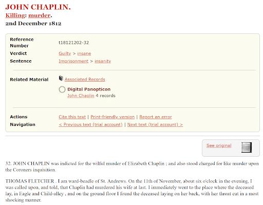 Genealogy criminal records, John Chaplin on Old Bailey Site