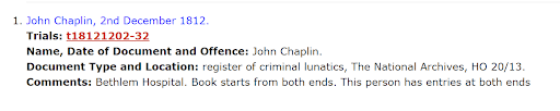 Genealogy criminal records, John Chaplin national archives