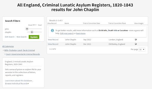 Genealogy criminal records, Ancestry.com database
