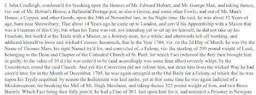 Genealogy criminal records, John Crudleigh Details of Crime
