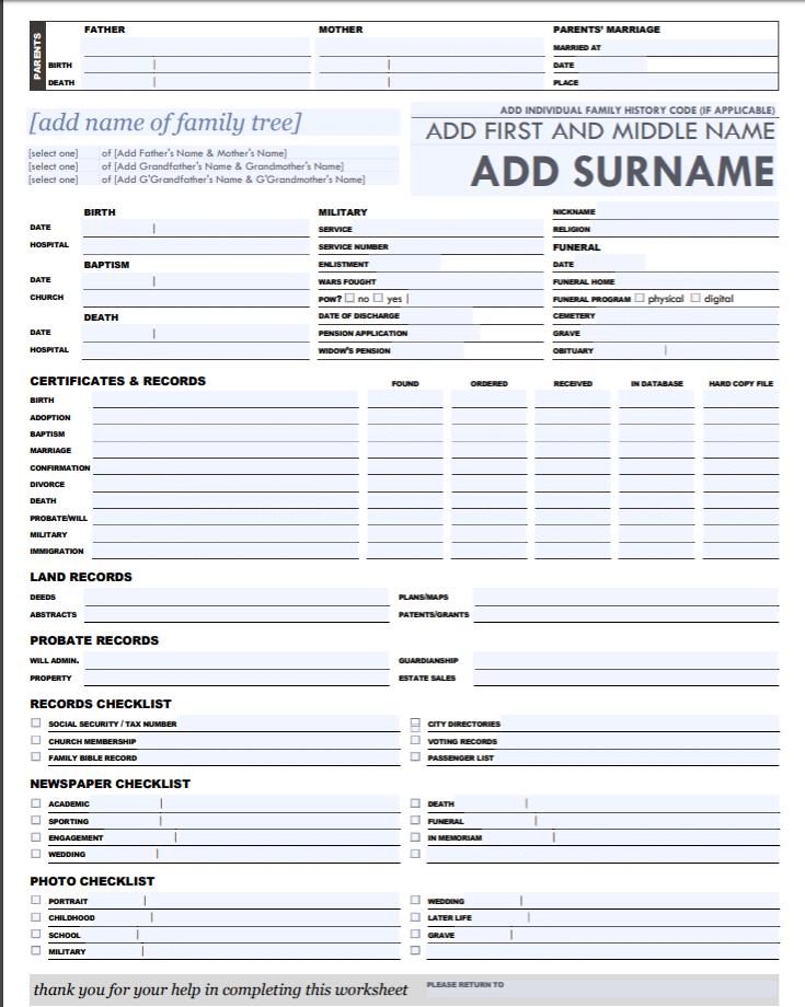free genealogy printables, Fuzzy Ink Stationery genealogy worksheet