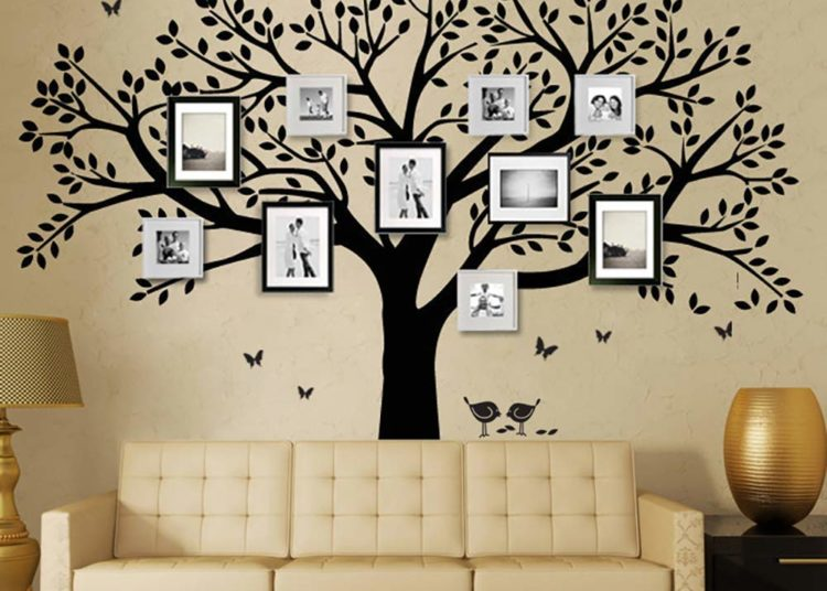 Display old family photos, family tree wall decal
