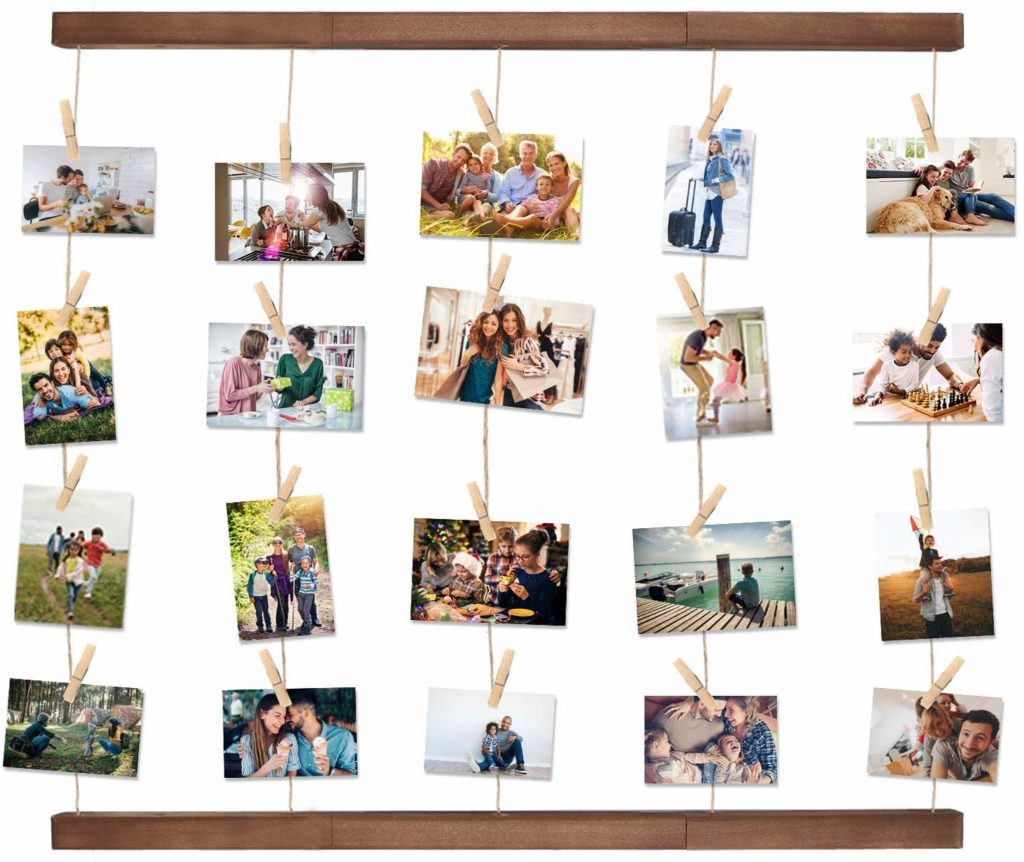 Display old family photos, clothelines picture holder