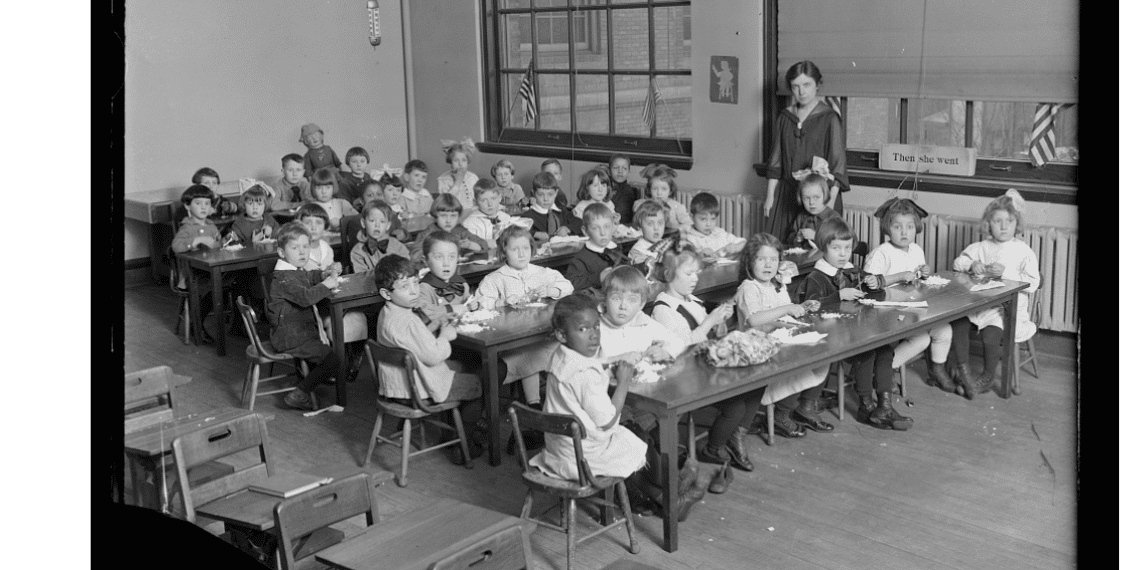 Free Family Tree Lesson Plans for Kids and Teens - Kids in a Red Cross Classroom, Early 20th Century