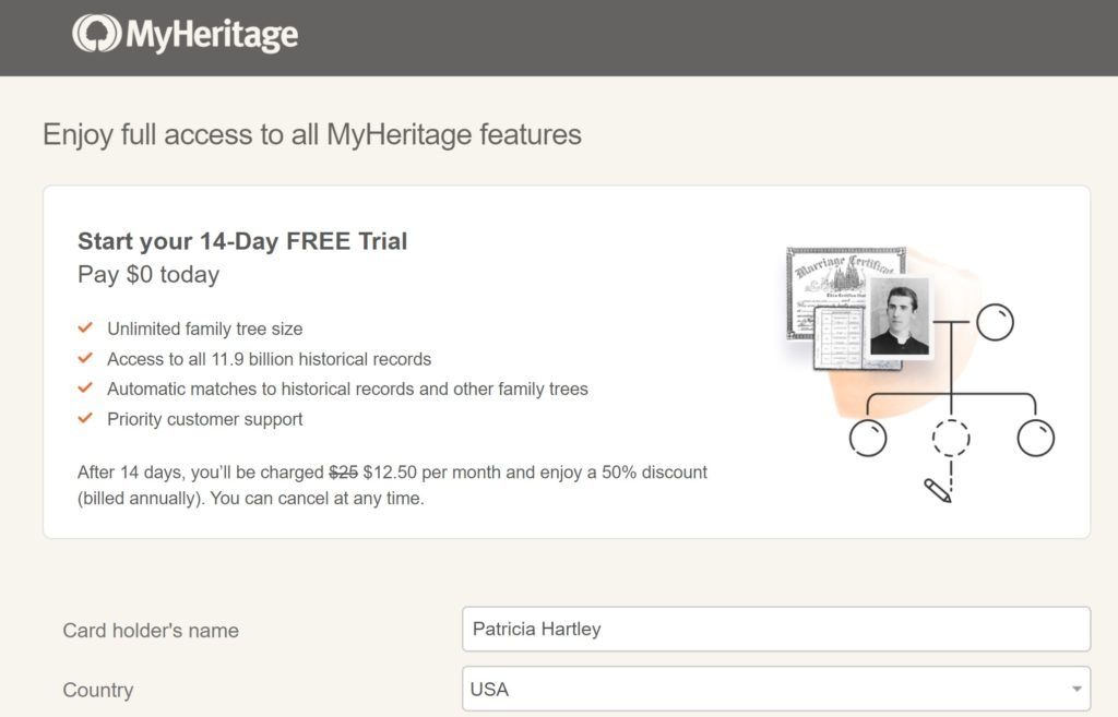 14 Day Free Trial MyHeritage