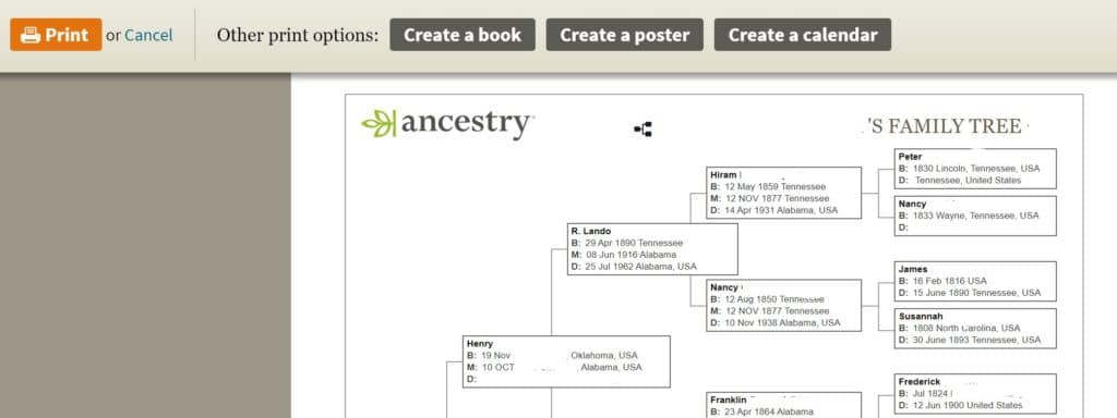 Printing an Ancestry Family Tree 4