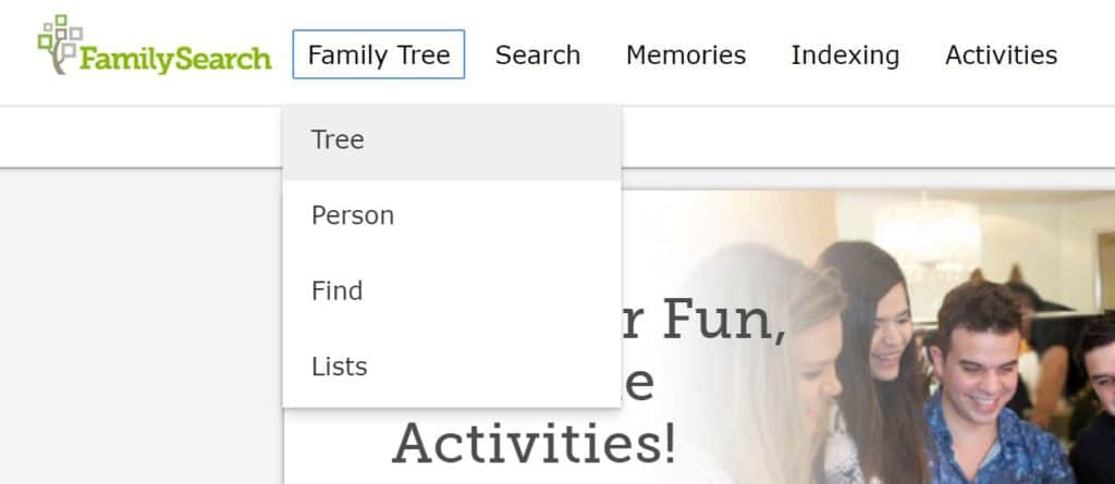 FamilySearch Print Family Tree Step 1