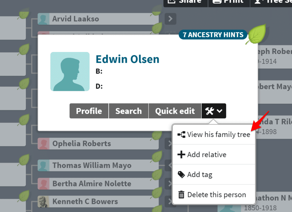 View family tree for a specific person on Ancestry