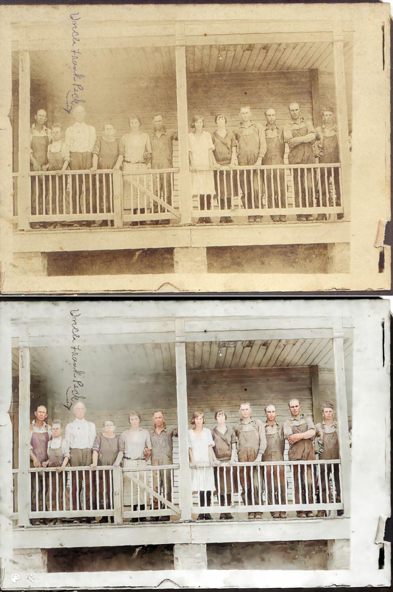 top and bottom comparison of colorized photos