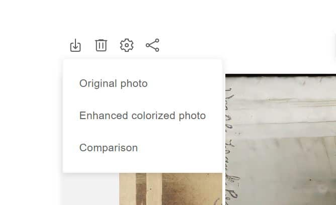 Download photo options dropdown