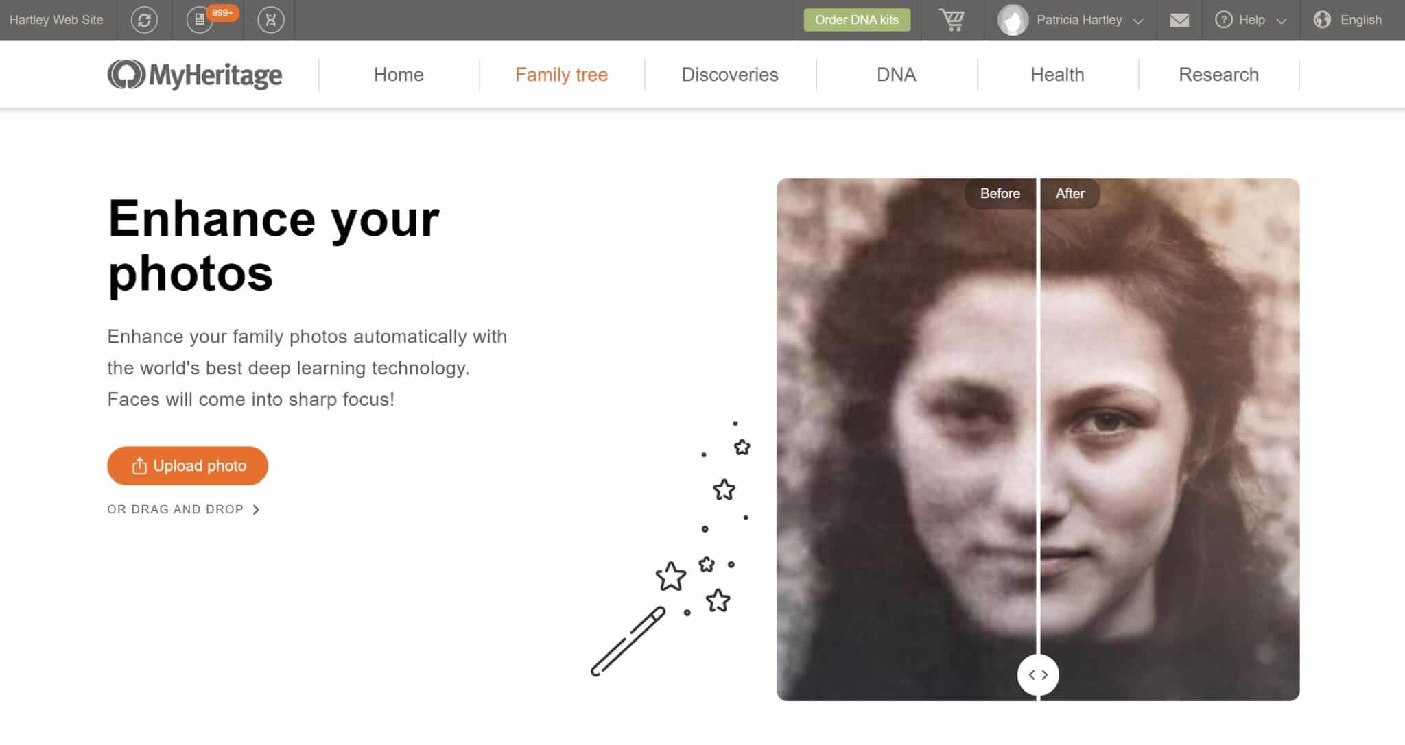 MyHeritage Enhance Your Photos Intro Page