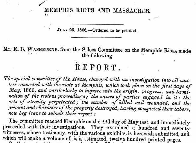 Memphis Riots Report Introduction