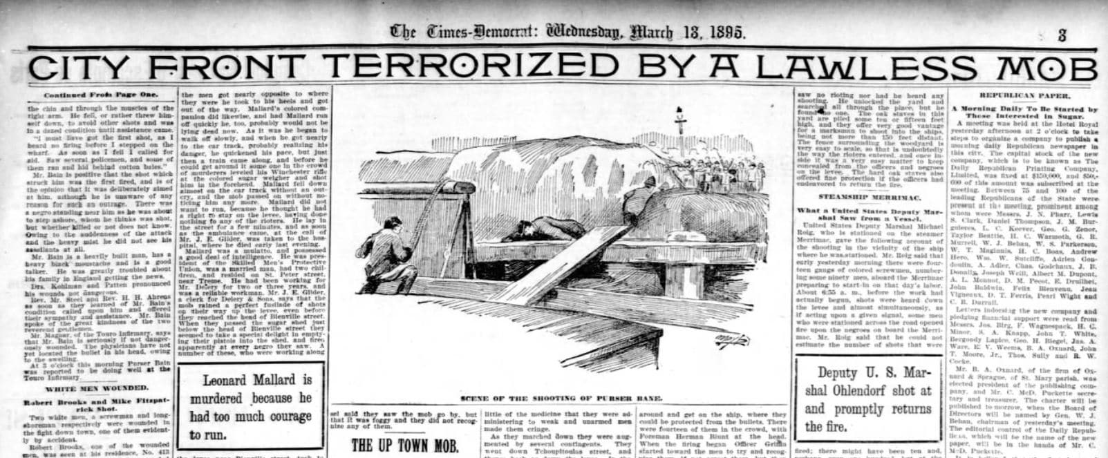 Headline from New Orleans Paper after Massacre
